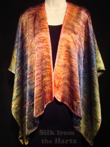 Beautiful autumn fall fashion silk shawl wrap hand dyed in peach, browns, denim and olive colors.