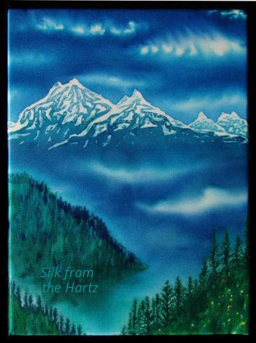 Cascade mountain silk painting Pacific Northwest
