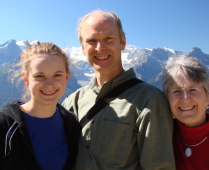Silk artist Warren Hartz and his family in the mountains