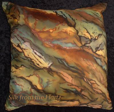 Silk throw pillow cover earth tone stone pattern