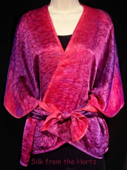 Best elegant unique luxury gift for women, red purple silk satin shawl for her with rear corners tied in the front.