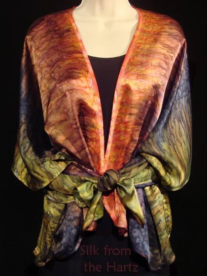 Beautiful fall fashion brown and green autumn color silk satin womens shawl wrap pareo with back corners tied in front.