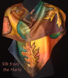 silk scarf hand painted with autumn leaves