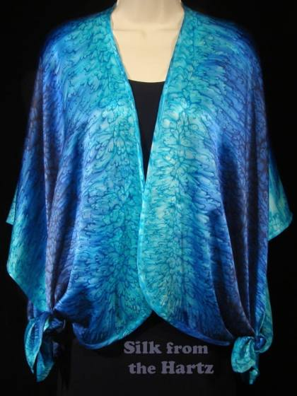Luxury royal blue and turquoise silk satin wrap shawl ruana tied in corners, gift for wife.