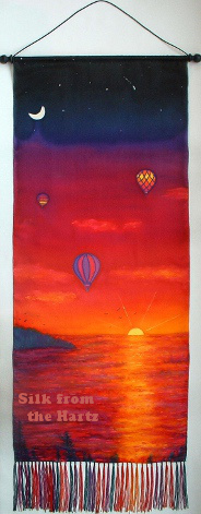 silk painting hot air balloon sunset